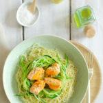 Spaghettis courgettes saumon et sauce citron