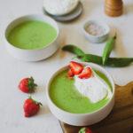 Soupe froide petits pois burrata fraise